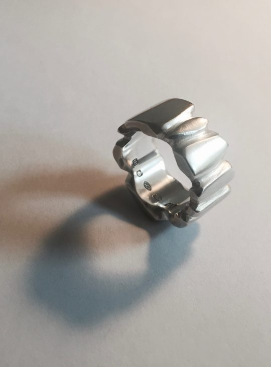 Tawny Phillips Handcarved Heavyweight Facetted Silver Ring