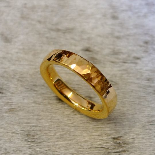 Tawny Phillips - Heavy Hammered Gold Wedding Ring