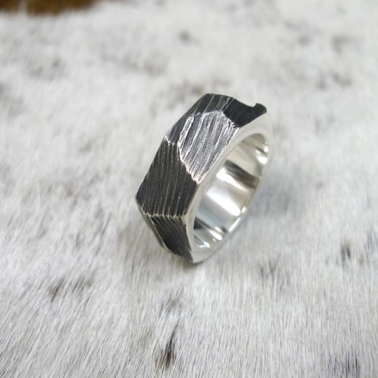 Tawny Phillips - Oxidised Silver Rough Hewn Ring