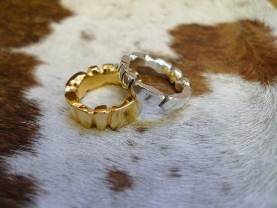 Tawny Phillips Pair of Facetted Gold Wedding Rings