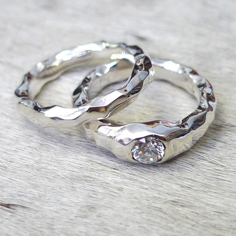 Tawny Phillips - Pair of White Gold and Diamond Crumple Engagent and Wedding Rings