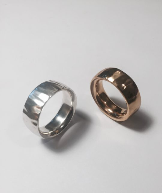 Tawny Phillips Ripple Rings in White and Rose Gold