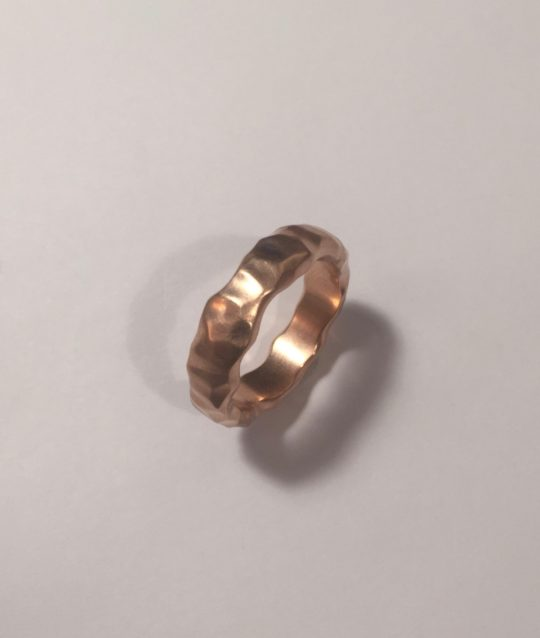 Tawny Phillips Rose Gold Unisex Crumple Wedding Ring