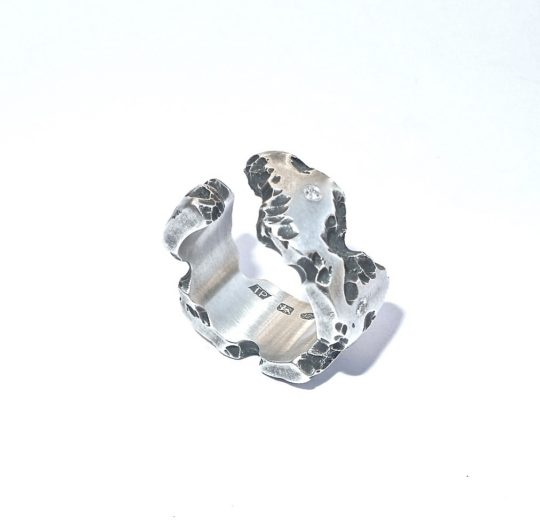Tawny Phillips Split Oxidised Silver Battered and Broken Diamond Ring