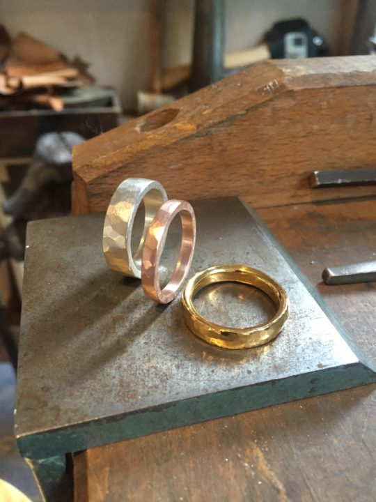 Tawny Phillips - Trio of Handmade Men's Hammered Wedding Rings
