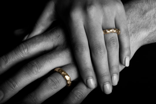 Tawny Phillips - Two Gold Crumple Wedding Rings
