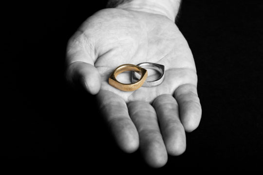 Yellow and White Gold Eye Rings