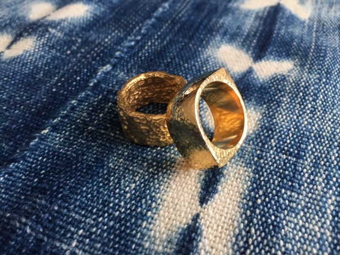 Tawny Phillips handcarved textured unusual gold wedding rings