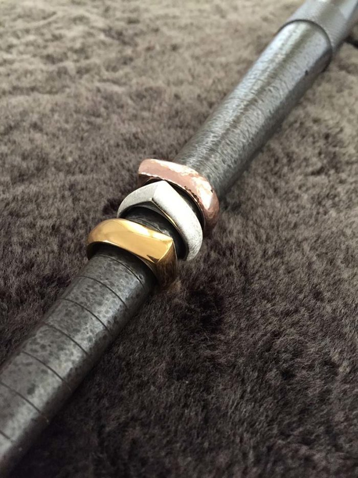 Heavy Gold & Silver Teardrop Rings