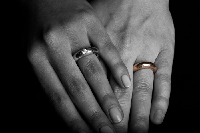 Tawny Phillips handmade tapered gold wedding rings for lesbians